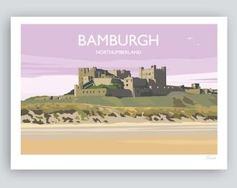 Bamburgh Castle, Bamburgh, Northumberland. HAND SIGNED Art Print/Travel Poster by JuliaS | Gift idea.