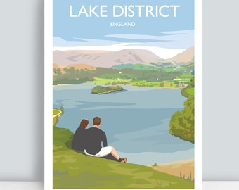 Lake District print, Cumbria, England. HAND SIGNED Art Print/Travel Poster by Julia Seaton.