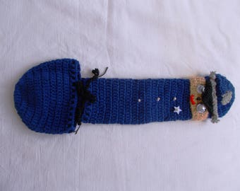 Police man hand knitted underwear penis warmer cock sock vibrator cozy willie warmer crochet accessory for man underwear outfit handmade