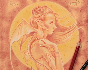 Original Illustration of a Fairy and Dragon