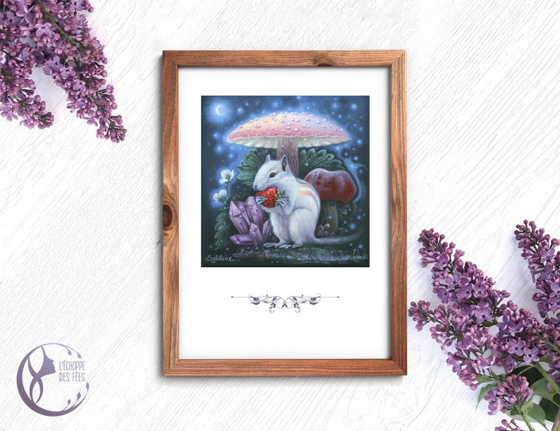 Fantasy Nature Squirel Art Print for Witches and Fairies image 0