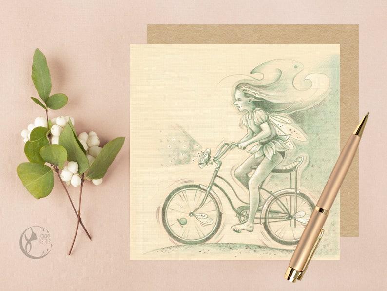 Greeting Card with Biking Fairy image 0