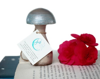 Blue Fairy Wooden Mushroom