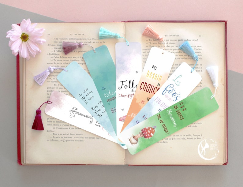 Inspirational Fairy Bookmark with Magic Quote in FRENCH image 0