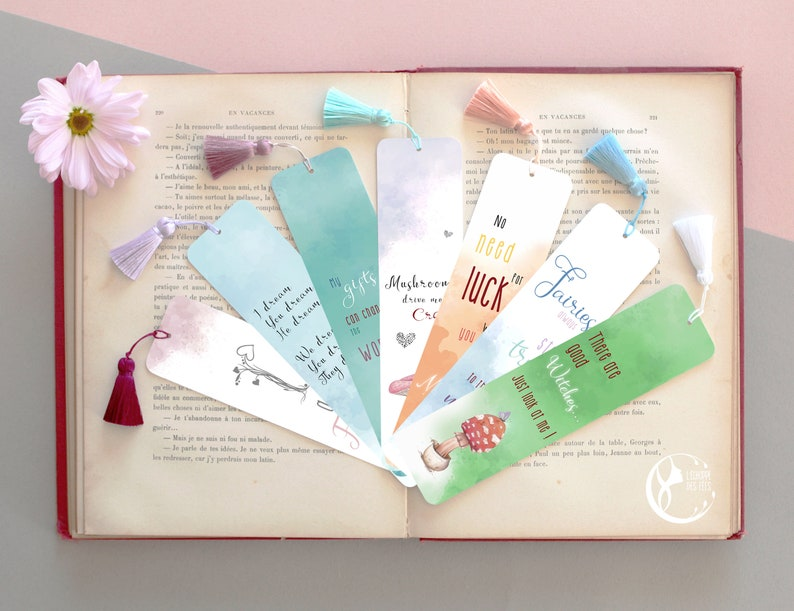 Inspirational Fairy Bookmark with Magic Quote in ENGLISH image 0