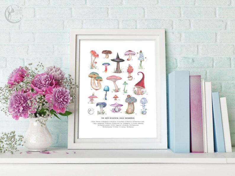 Art Print of Magic Mushrooms in ENGLISH image 0