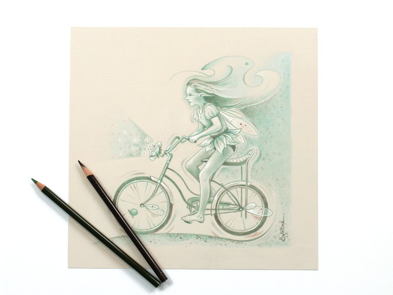 Original Illustration of a Fairy riding a vintage bicycle image 0