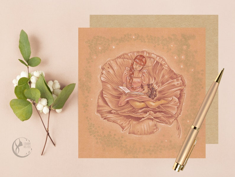 Greeting Card with Fairy sitting in a Flower image 0