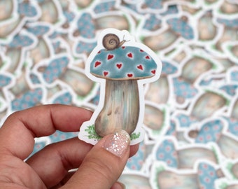 Mushroom Sticker with Little Hearts and Snail