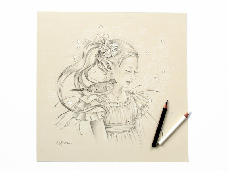 Original Illustration of a Fairy and Ring-necked Dove image 0