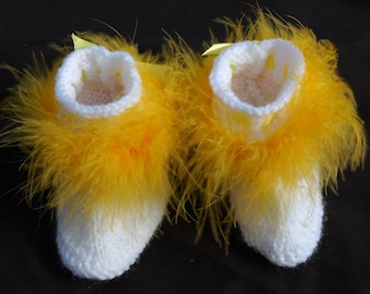 Baby Booties with Maribou Feather trim