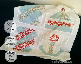 Ahoy the Sails block, Ahoy the Anchors block, Ahoy the Ropes block, pdf pattern. 3 patterns in 1