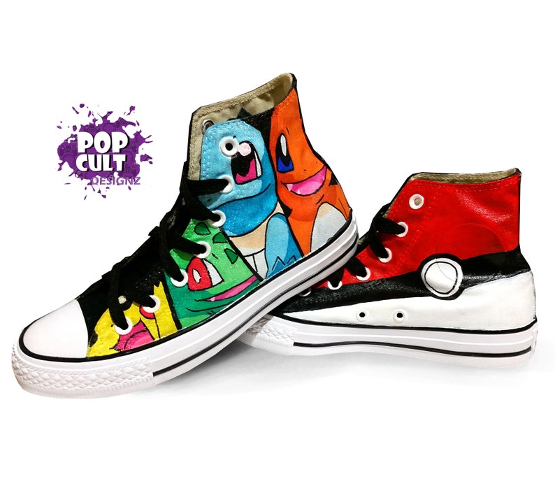 d9699ef9b860 Pokemon Anime Video Game Hand Painted Canvas Converse Shoes