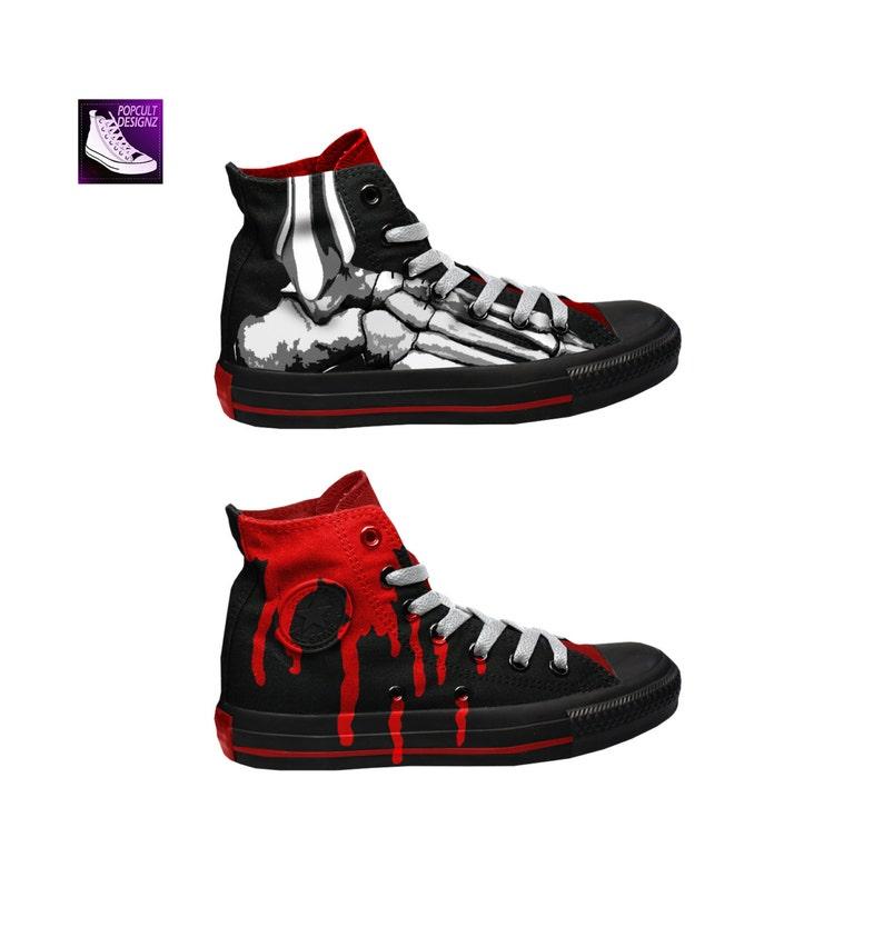 À Chaussures LaEtsy De Squelette En Toile Gore Converse Peint fgyb76Yv