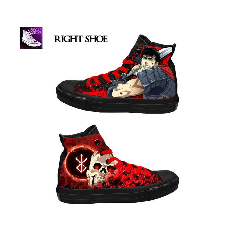 4a6bd31adb63 Berserk Anime Inspired Hand Painted Canvas Converse Shoes
