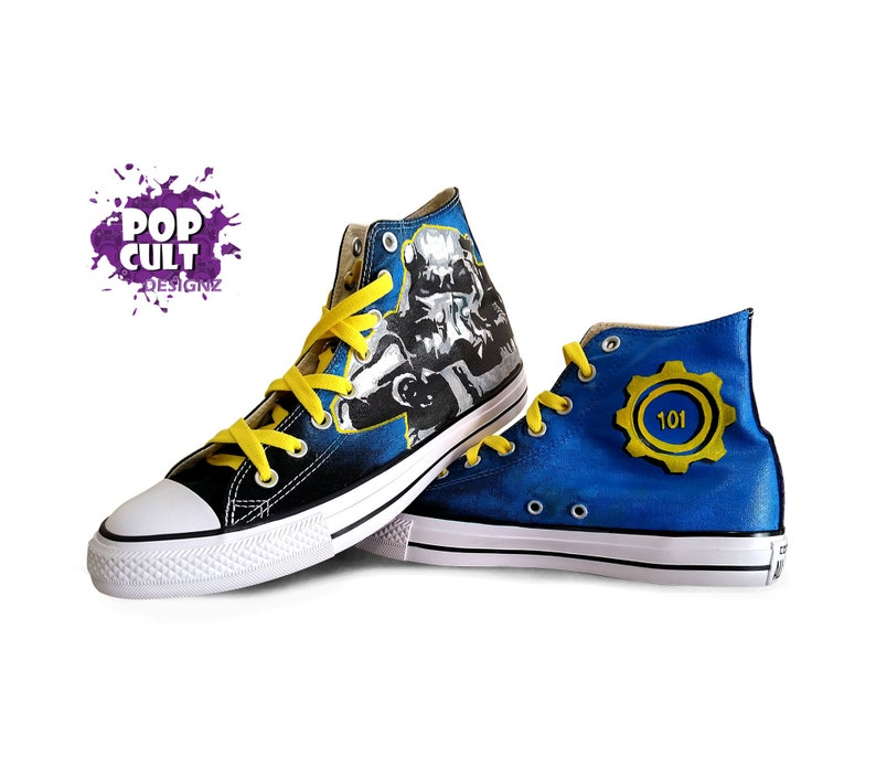 03adc2e5fc083c Fallout Video Game Inspired Hand Painted Canvas Converse