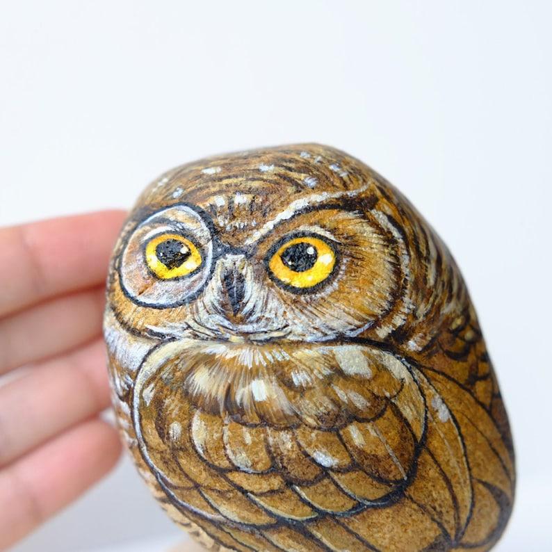 Owl stone painting Unique. Stone Art Paint by Acrylic Colour