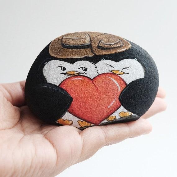 Valentine Giftpenguin Love Couple Stone Painting Stone Art Etsy