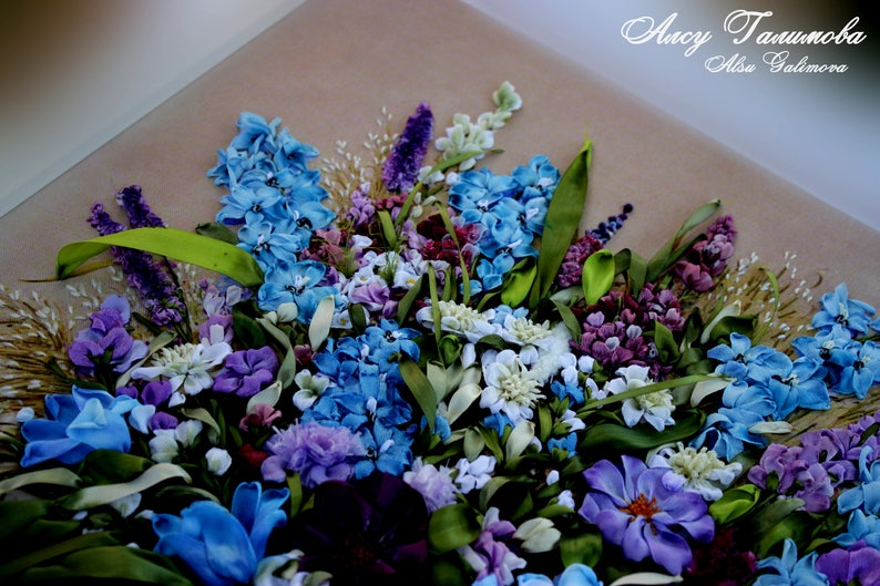 Decorative Objects For Home Romantic Wall Decor Blue Bouquet