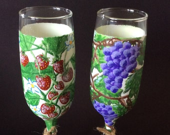 Hand Painted Champagne Flutes Set of 2 Wine Glasses OOAK