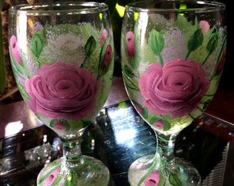 Roses & Buds Hand Painted Glasses Set of 2