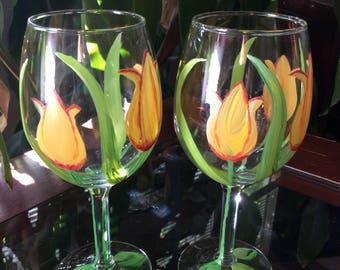 Tulip Glasses Set of 2 Hand Painted Wine Glasses