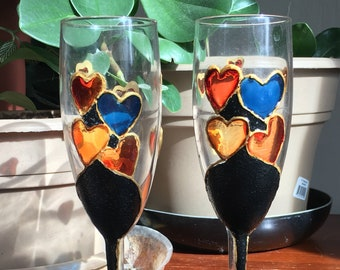 Faux Stained Glass Hand Painted Champagne Glasses Set of 2