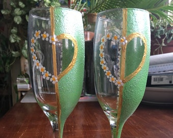 Hand Painted Champagne Glasses Set of 2