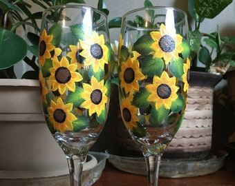 Hand Painted Sunflower Glass / Champagne Flute (one glass or set of 2)
