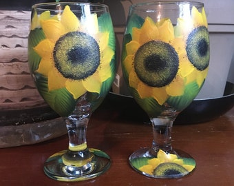 Sunflowers Hand Painted Glasses Short Stemmed Set of 2