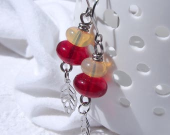 Raspberry Delight - surgical steel earrings with Czech raspberry and light yellow glass beads and stainless steel leaves