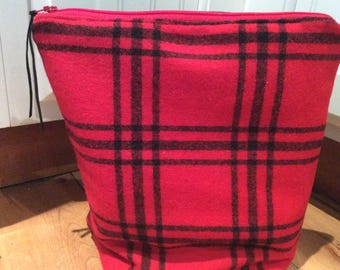 Red and Black Wool Plaid Bag a4d3e5a82