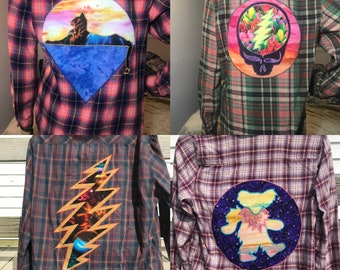 70/'s retro hippie flannel shirt psychedelic print retro pointy collar blouse boho hippie shirt spring flannel shirt autumnal colors