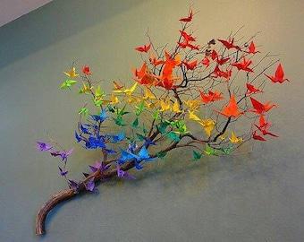 SALES 80 Color Cranes Purple Origami Bird Blue Home Decor Orange Birds Red Baby Room Decoration Wedding