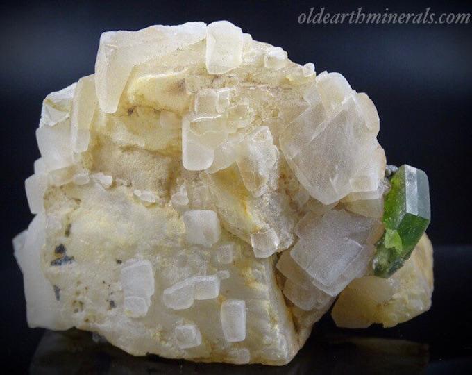 Beautiful Green Titanite Sphene Crystal on Calcite