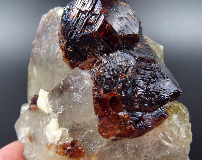 13 Ounce Specimen of Red Etched Garnets on a Smoky Quartz Crystal Matrix with Minor Albite