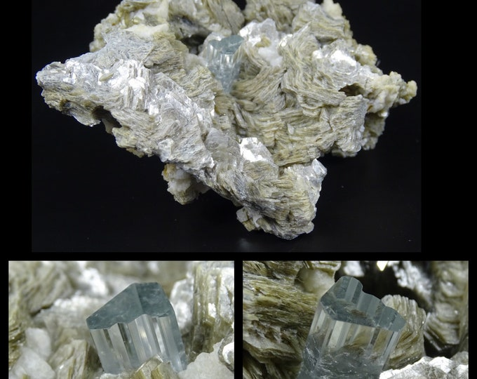 Stunning Aquamarine Crystal with Mica and Albite