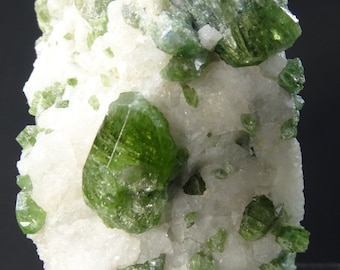Chrome Diopside Crystals on Snowy White Albite
