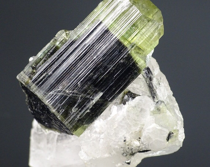 Bi-color Tourmaline Crystal on Quartz and Albite Matrix