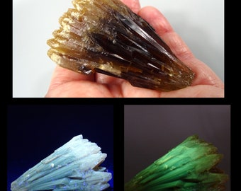 Fluorescent and Phosphorescent Amber Calcite Cluster