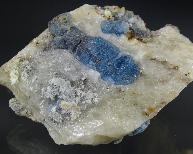 Fluorescent Afghanite and Pyrite on Matrix