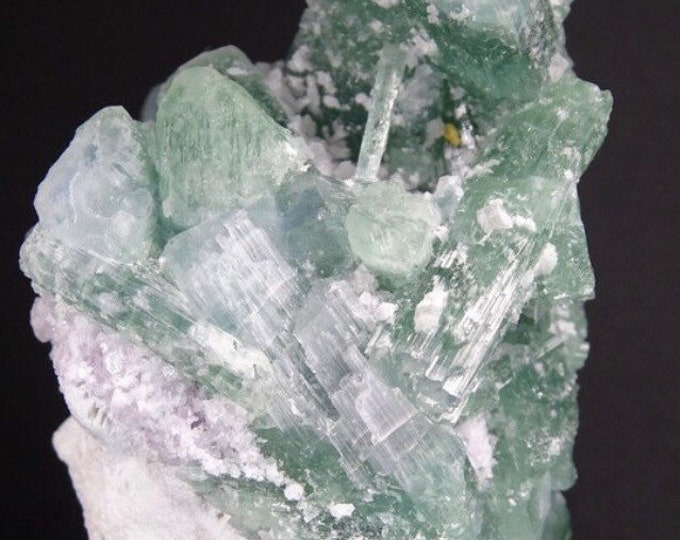 Pretty Aqua-Green Tourmaline Cluster with Lepidolite