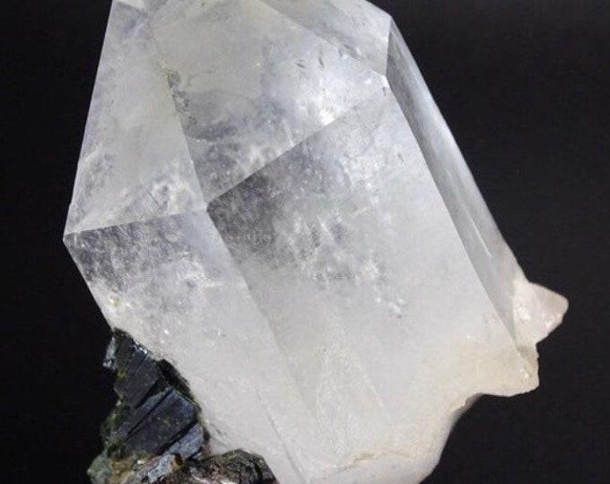 Quartz Crystal with Dark Green Epidote Crystals