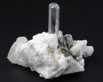 Nicely Terminated Aquamarine Crystal with Mica on Albite Matrix.