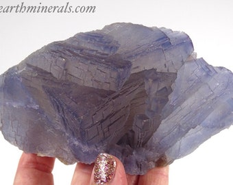 Beautiful Light Blue and Gray Stepped Fluorite Cube Cluster
