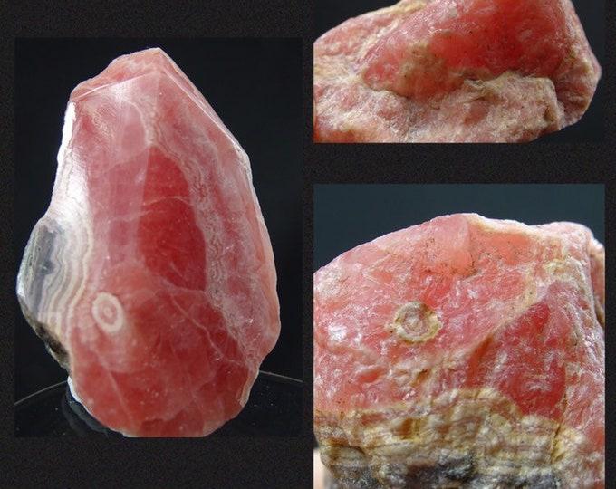 Beautiful Argentinian Rhodochrosite Pritially Polished Display Piece