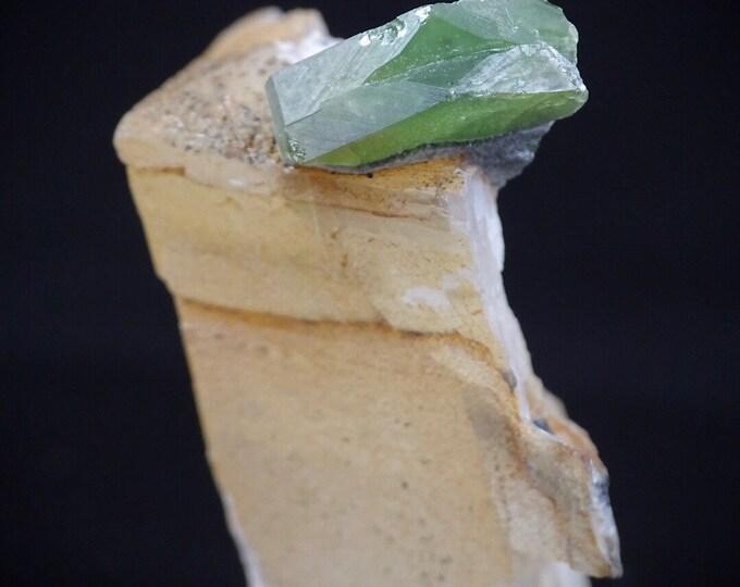Green Titanite Sphene Crystal on Calcite
