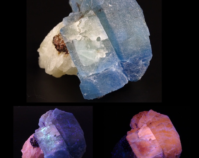 Fluorescent Afghanite and Pyrite with Calcite