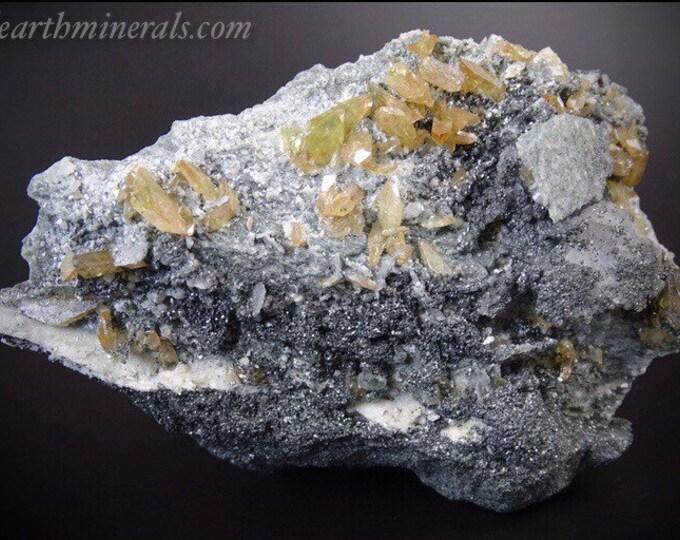 Bicolor Yellow and Peach Colored Titanite Crystals, Clevelandite, Clinochlore and Colusite on Matrix