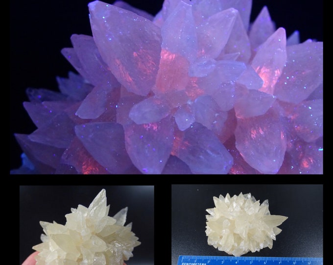 UV Reactive Semi-Clear with Yellow Tone Dog Tooth Calcite Cluster